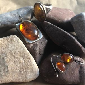 Lovely amber, silver set.